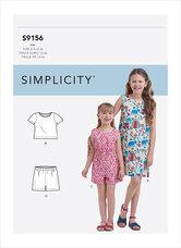 Top, shorts, kjole til piger. Simplicity 9156.
