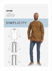 Halvt knappet skjorte til mænd. Simplicity 9158.