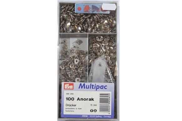 Anoraktrykknapper, rustfri, økonomipakning med 100 stk
