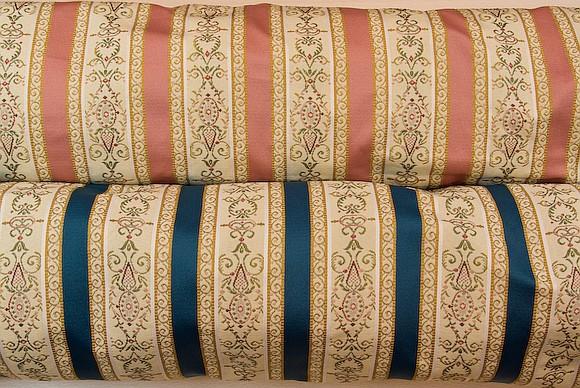Biedermeier møbelstof i rosa og blå
