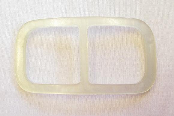Glashvid buet bæltespænde til bæltebredde 4,5cm