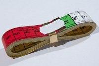 Målebånd med farver for hver 10 cm, 150 cm langt