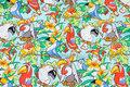 Mintgrøn patchworkbomuld med papegøjer