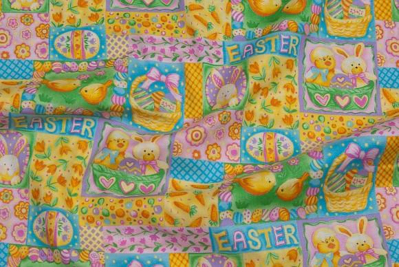 Påskebomuld med æg, harer m.m. i gul, grøn, pink