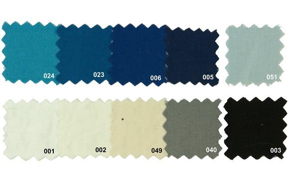 Sanforbomuld-økotex i blå og lyse farver
