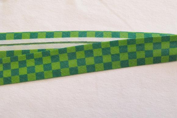 Skråbånd grøn-grøn tern, 2cm