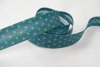 Skråbånd grøn med lime stjerner 2 cm