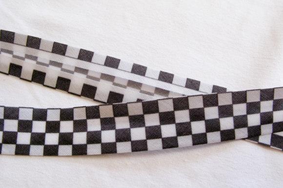 Skråbånd sort-hvid tern, 2cm