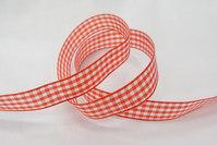 Taftbånd ternet rødt 16 mm