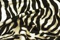 Imiteret zebra pels med naturtro pelskonturer, hvirvler og strøg. God til udklædning, betræk på f.eks. møbler, hynder m.m.