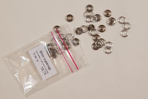 10 trykknapper med blank ring 8 mm