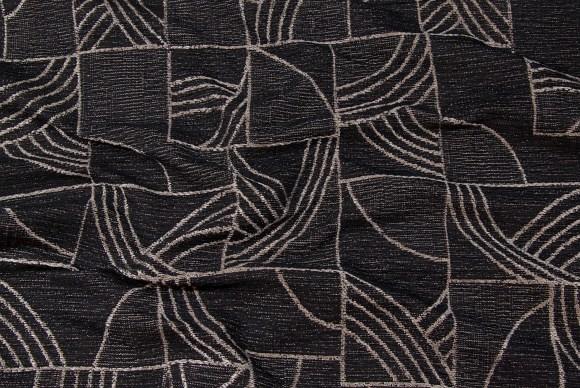 Sort-grå møbelstof i mode-firkant-mønster