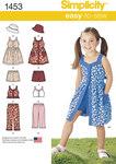 Simplicity 1453. Kjole, top, bukser eller shorts og hat til børn.