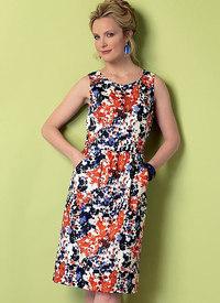 Tulipan-formet, åben-bagside kjole og sæt. Butterick 6351.