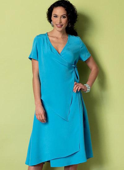 Slå-om-forside kjole med overlap - connie crawford