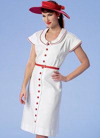 Kjole med knap-forside, rund hals, taljebælte, ærmeløs. Butterick 6363.