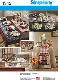 Tilbehør til bordet, dækkeservietter, bordløber. Simplicity 1343.