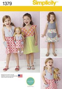 Kjole til pige og dukke. Simplicity 1379.