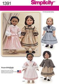 Borgerkrig dukke kostume til 45 cm dukke. Simplicity 1391.