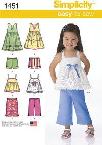 Kjoler, Top, Bukser og Shorts til børn. Simplicity 1451.