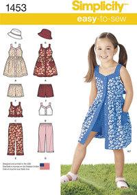 Kjole, top, bukser eller shorts og hat til børn. Simplicity 1453.