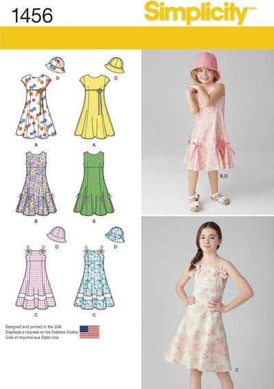 Kjole med overdelsvariationer og hat til børn