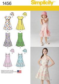 Kjole med overdelsvariationer og hat til børn. Simplicity 1456.