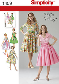 Vintage 1950er kjoler, store skørter. Simplicity 1459.