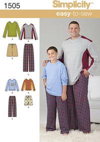 Bluse og bukser til store og høje mænd. Simplicity 1505.