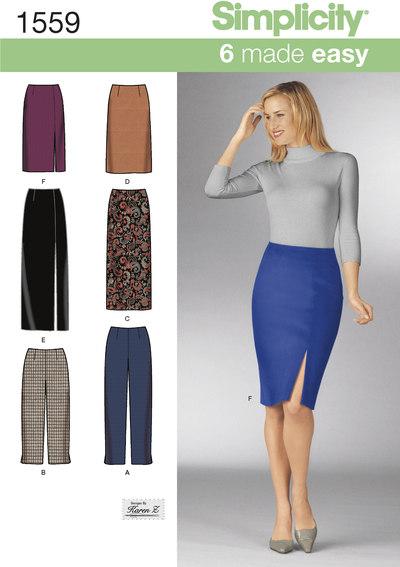 Klassisk nederdel og bukser