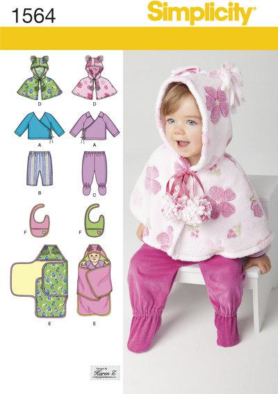 Top, bukser, smæk og slå-om-tæppe til småbørn