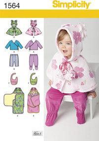 Top, bukser, smæk og slå-om-tæppe til småbørn. Simplicity 1564.