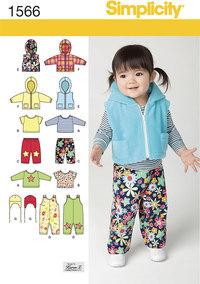 Vest, bukser, hat m.m. til småbørn. Simplicity 1566.