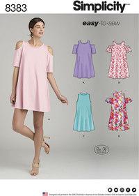 Trapeze-kjole med halsudskæring og ærmevariationer. Simplicity 8383.
