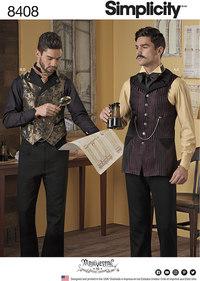 Bluse og skjorte og vest til mænd. Simplicity 8408.