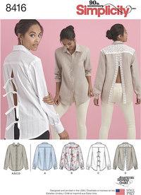Bluse og skjorte med bagsidevariationer. Simplicity 8416.