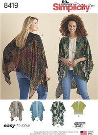 Kimono style slå-om med variationer. Simplicity 8419.