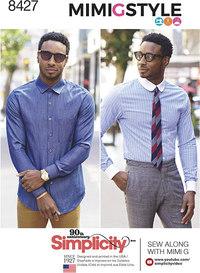 Figursyet bluse og skjorte med kraver til mænd, by Mimi G. Simplicity 8427.
