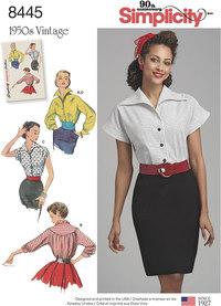 Vintage bluser og skjorter. Simplicity 8445.