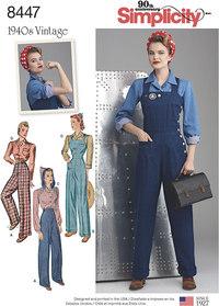 Vintage bukser, overalls og bluser. Simplicity 8447.
