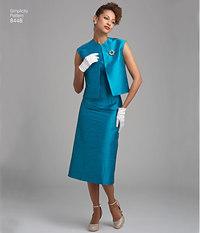 Vintage kjole og foeret eller ufoeret vest. Simplicity 8448.