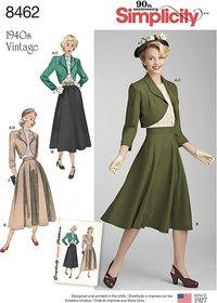Vintage bluse, nederdel og foeret bolero. Simplicity 8462.