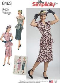 Vintage to del kjole. Simplicity 8463.