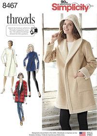Frakke eller jakke med halsudskæring variationer. Simplicity 8467.