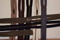 Jakkelynlås, delbar, oxideret-metal, 6 mm bred, 45 cm lang