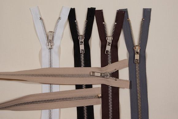Jakkelynlås, delbar, sølv-metal, 6 mm bred, 65 cm lang