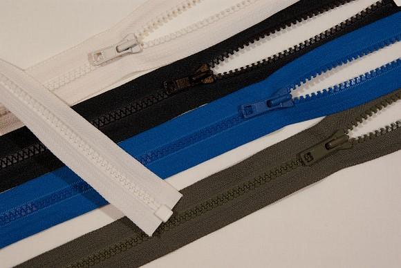 Jakkelynlås, delbar, store plasttænder, 6mm bred, 75 cm lang