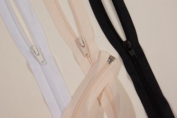 Jakkelynlås, spiraltype, delbar, plast, 6 mm bred, 70 cm lang