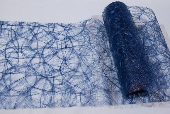 Marineblå festremse løberstof i hårlignende polyesternet