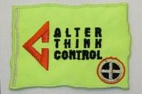 Neon gul Alter Think Control strygemærke, 5 x 7,5 cm